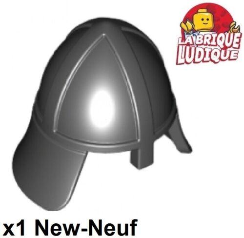 1x Minifig headgear casque castle helmet neck nez noir//black 3844 NEUF Lego