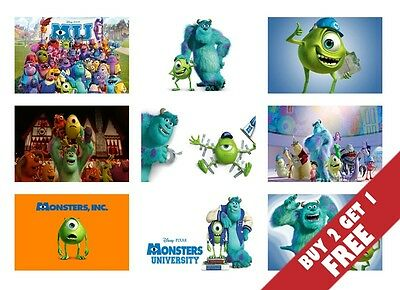 MONSTERS INC UNIVERSITY ANIMATION MOVIE Film A4 Posters Children Wall Room Decor