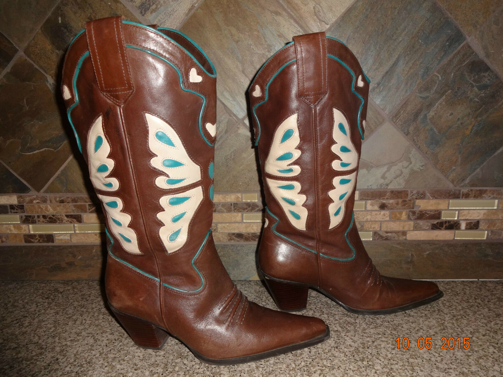 Womens Nine West Plank Sz 6.5M Brown Leather Butterfly Inlay Detail Cowboy Boots