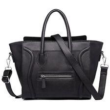 Ladies Black PU Leather Smile Handbag Tote Designer Celebrity Shoulder Bag UK