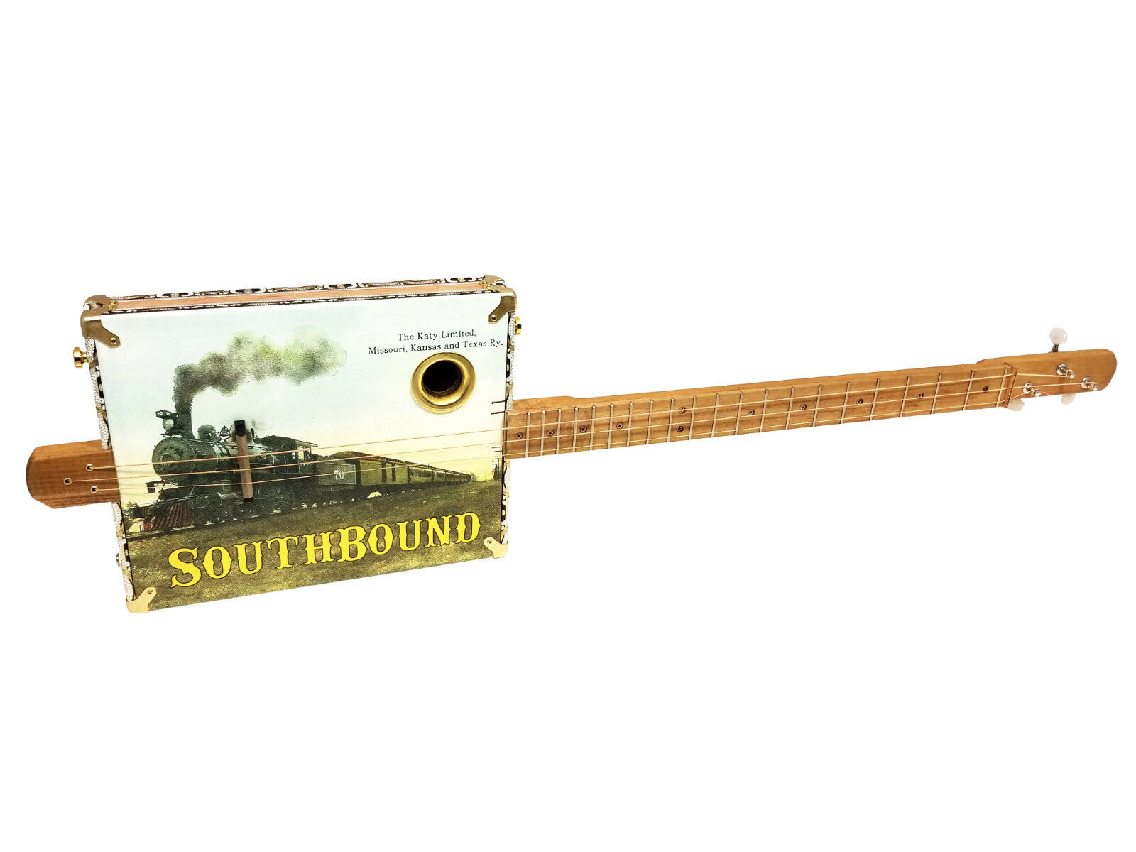 Southbound Katy  3-string Fretted Cigar Box Guitar - Old Railroad Postcard Art