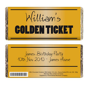 Details About PERSONALISED GOLDEN TICKET CHOCOLATE BAR GIFT Willy Wonka Party Invitation Idea