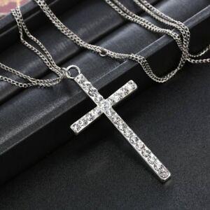 Fashion-Women-Cross-Zircon-Pendant-Necklace-Long-Chain-Charm-Lady-Jewelry-Gifts