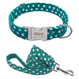 Small-Large-Dogs-Personalized-Nylon-Collar-Dog-Leash-Cute-Dots-Print-Adjustable