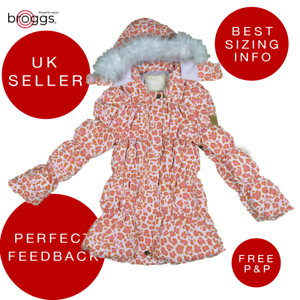 Girls Coat Puffer Jacket Padded Jacket Leopard Print and Faux Fur RRP £32