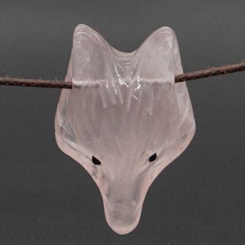 Fox Head Pendant Natural Gem Rose Quartz Crystal Reiki Healing Necklace Gift