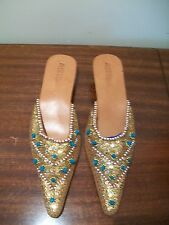 Mystique Shoes sz 9 /10 narrow Hand beaded form Indonesia leather slip ons