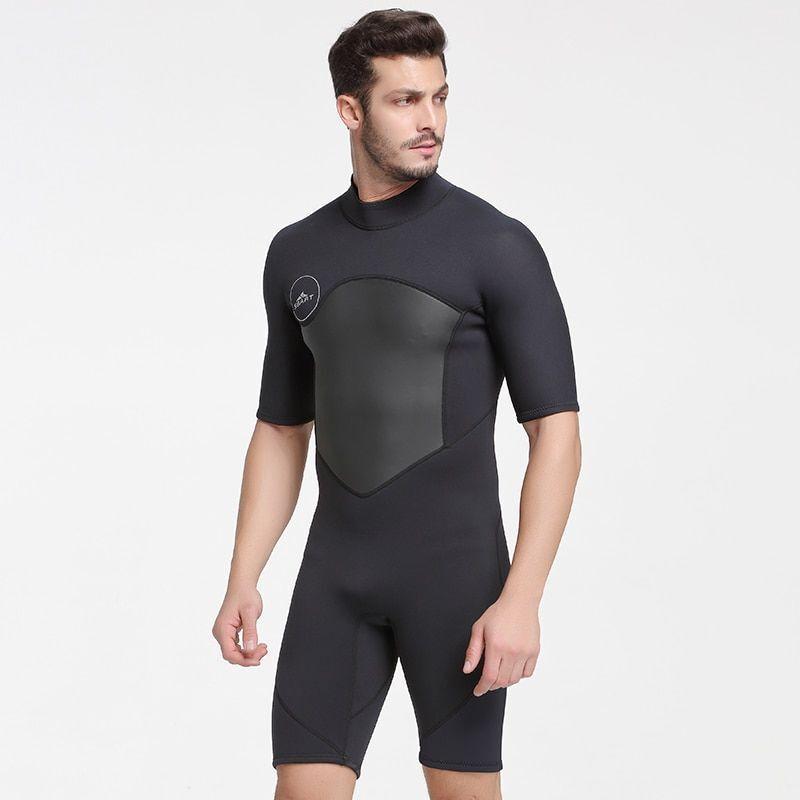 Mens Swimming Suit Short Sleeve Nylon Boys Wetsuit Scuba Diving Bathing Cloths