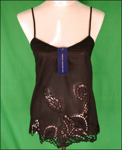 BNWT WOMEN/'S FRENCH CONNECTION STRAPPY TOP BLOUSE SMALL UK10 RRP£45 BLACK NEW