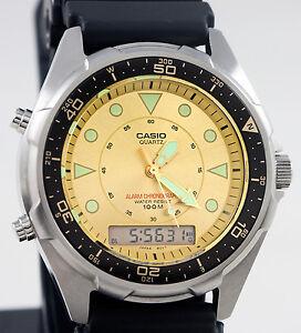 Casio Men's AMW320D-9EV Gold Chronograph Analog Digital ...