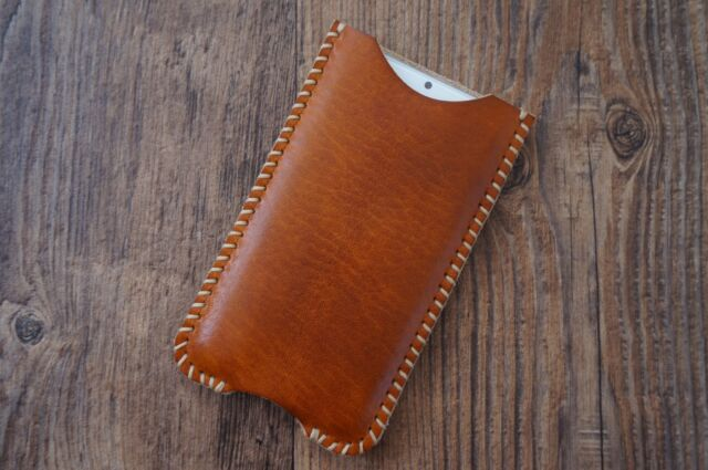 Personalized Custom HandMade Genuine Leather Case Pouch Purse Sleeve iPhone 6 6s