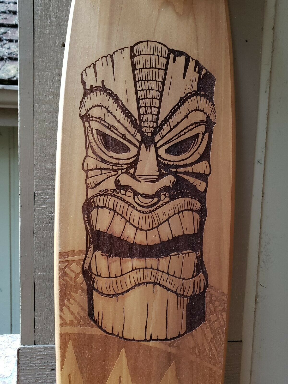 S board -  70's Retro Style 36  Wood Tiki Laser Etched Longboard w  Kryptonics  welcome to choose