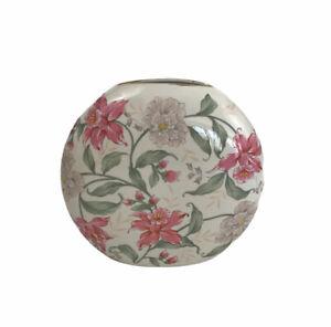 Vintage Otagiri Japan Prima Bud Vase Porcelain Floral White Pink Round Shape
