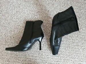 Ladies Black Leather High Heeled Ankle