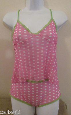 GAP Body 2pc PJ Cami & Mini Shorts in Pink/White Polka Dot w'Lace Trim Sz L