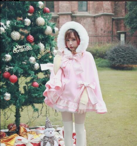 de S268 douce bowknot laine Lolita cape japonaise en princesse d'hiver manteau fille Manteau manteau dRpOwd