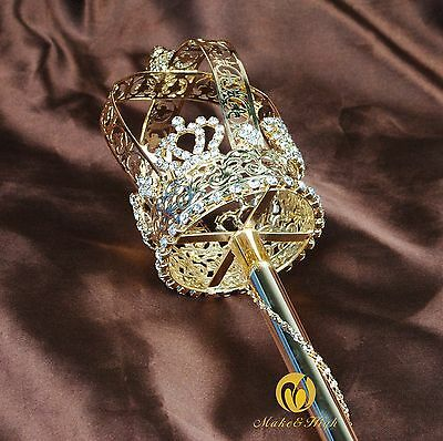 Renaissance Crystal Long Sceptre Wand King Queen Handhelds Props Pageant Costume