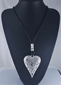 2fcd57c23c7f Black Cord Matt Silver Fligree Heart Pendant Long Lagenlook Necklace ...