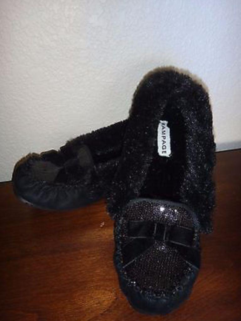 RAMPAGE Women's Flat Brader Slippers Black Faux FUR Tinsels US Size S (5-6)
