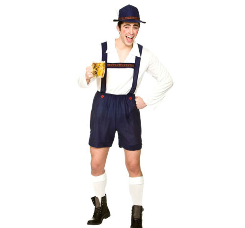 HAT Mens Adult BAVARIAN BEER GUY Blue German Oktoberfest Lederhosen Fancy Dress