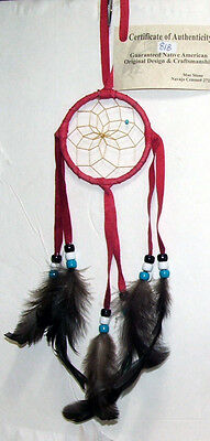 "Dreamcatcher  Bright Red Authentic Native American 3"" hoop FREE SHIPPING #818"