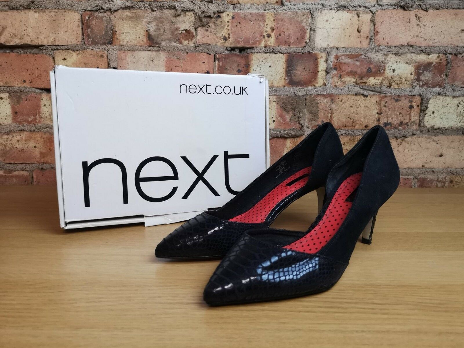 NEXT Womens Black Suede Faux Snakeskin Cut Out Pointed Toe shoes Size 6.5 UK