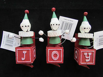 Joy Jack In Box Jingle Bell Ornaments ~ clips ~ set  3 Novelty Christmas NEW