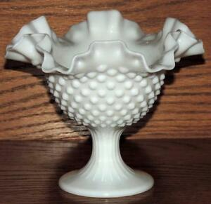"North American Self-Conscious Vintage Fenton Hobnail Ruffled Edge White Milk Glass 5.5"" Pedestal Compote Grade Products According To Quality Art Glass"