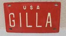1960'S VINTAGE MINI USA GILLA LICENSE PLATE NAME TAG SIGN BICYCLE VANITY ARTS