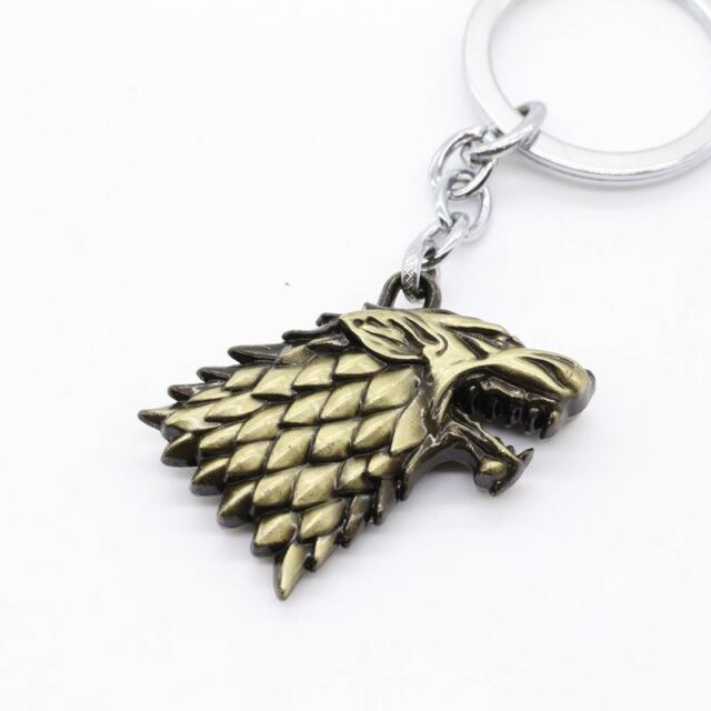 Keychain / Porte-clés - Game of Thrones House Stark Head 3D - Bronze