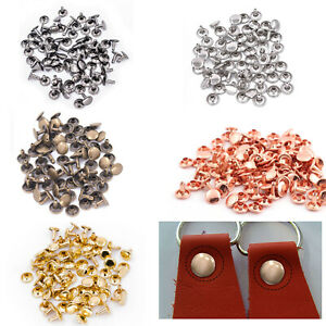 Gold Trimming Shop 100 X 6MM Zweiteilig Double Cap Tubular Nieten Leder Handwerk und Kleidung Reparatur 15mm