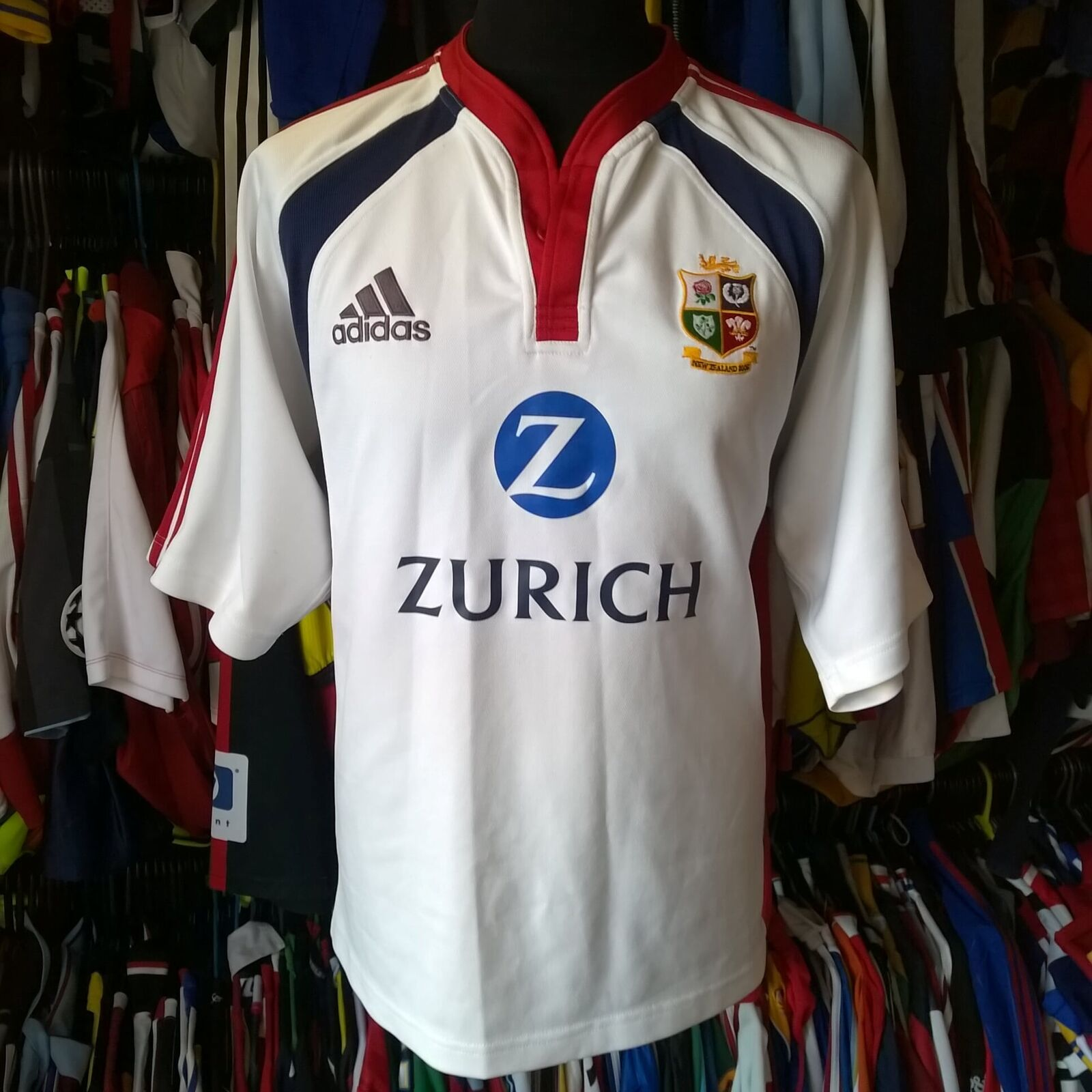 BRITISH LIONS 2005 AWAY UNION RUGBY SHIRT ADIDAS JERSEY SIZE ADULT L