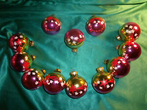 12-alte-Christbaumkugeln-Glas-gold-pink-weiss-Sterne-Vintage-Weihnachtskugeln