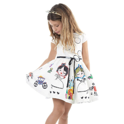 Girls Cartoon Princess Sleeveless Dress Kids Baby Wedding Party Pageant Dresses