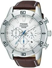 PNP PT3433X1 Pulsar Gents Chronograph Leather Strap Watch