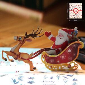3D-Up-Card-Santa-Claus-Christmas-Deer-Holiday-Merry-Christmas-Greeting-Car-JR