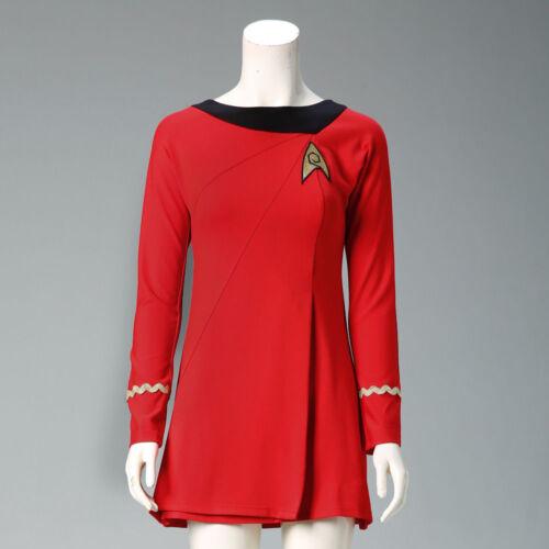 Classic Star Trek Female Duty Red Uniform TOS Dresses Halloween Woman Costume