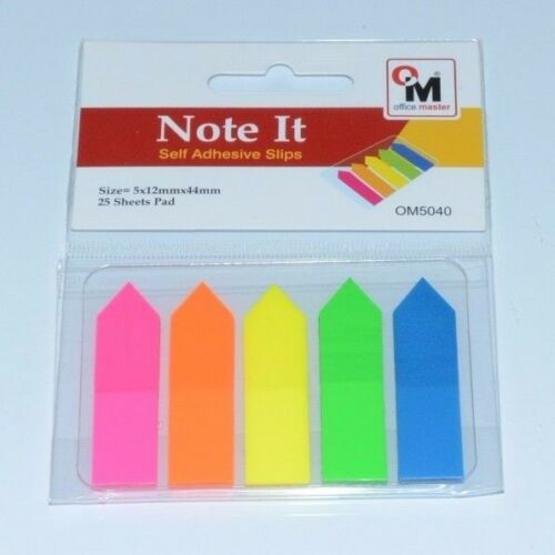 250 X STICKY ADHESIVE HIGHLIGHTER INDEX TAB FLAGS .TRANSPARENT NEON COLORS