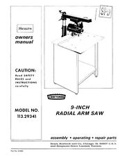 owners manual for craftsman 10 radial arm saw