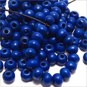 Lot-de-100-Perles-en-Bois-6mm-Bleu-pour-Colliers-Bracelets-Norme-DIN-EN-71-3