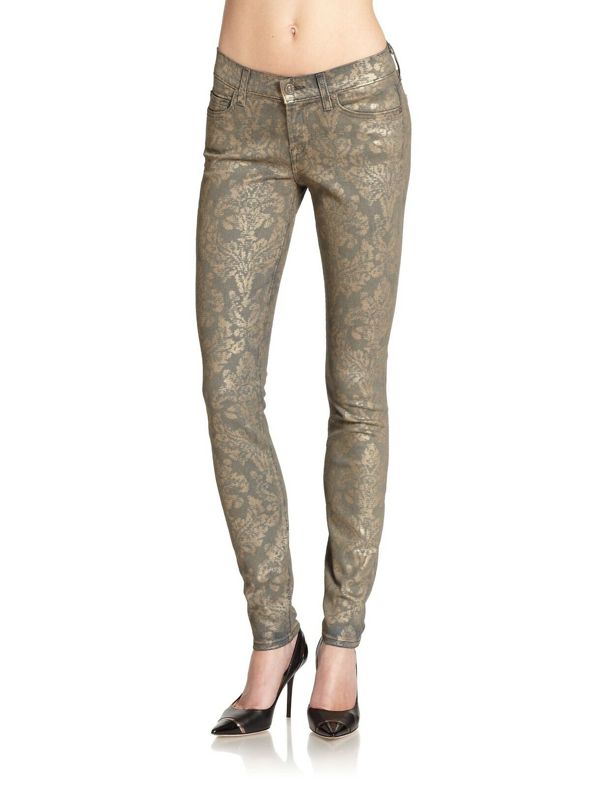 215 Womens 7 FOR ALL MANKIND THE SKINNY METALLIC BAROQUE JEANS Sz 29 gold Print