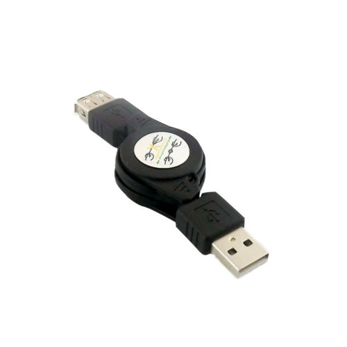 1x USB 2.0 A Male to 2.0 A Female M//F Extension Retractable USB Cable Cord Black