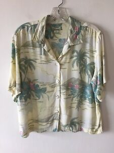 Tommy-Bahama-Rayon-Blouse-Floral-Hibiscus-Women-039-s-Small-NWOT