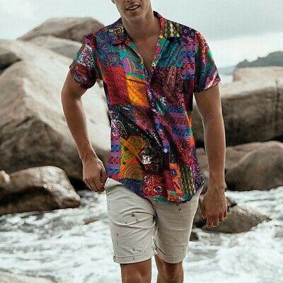 Mens Hawaiian Shirt Island Print Short Sleeve Vacation Casual Loose Shirt