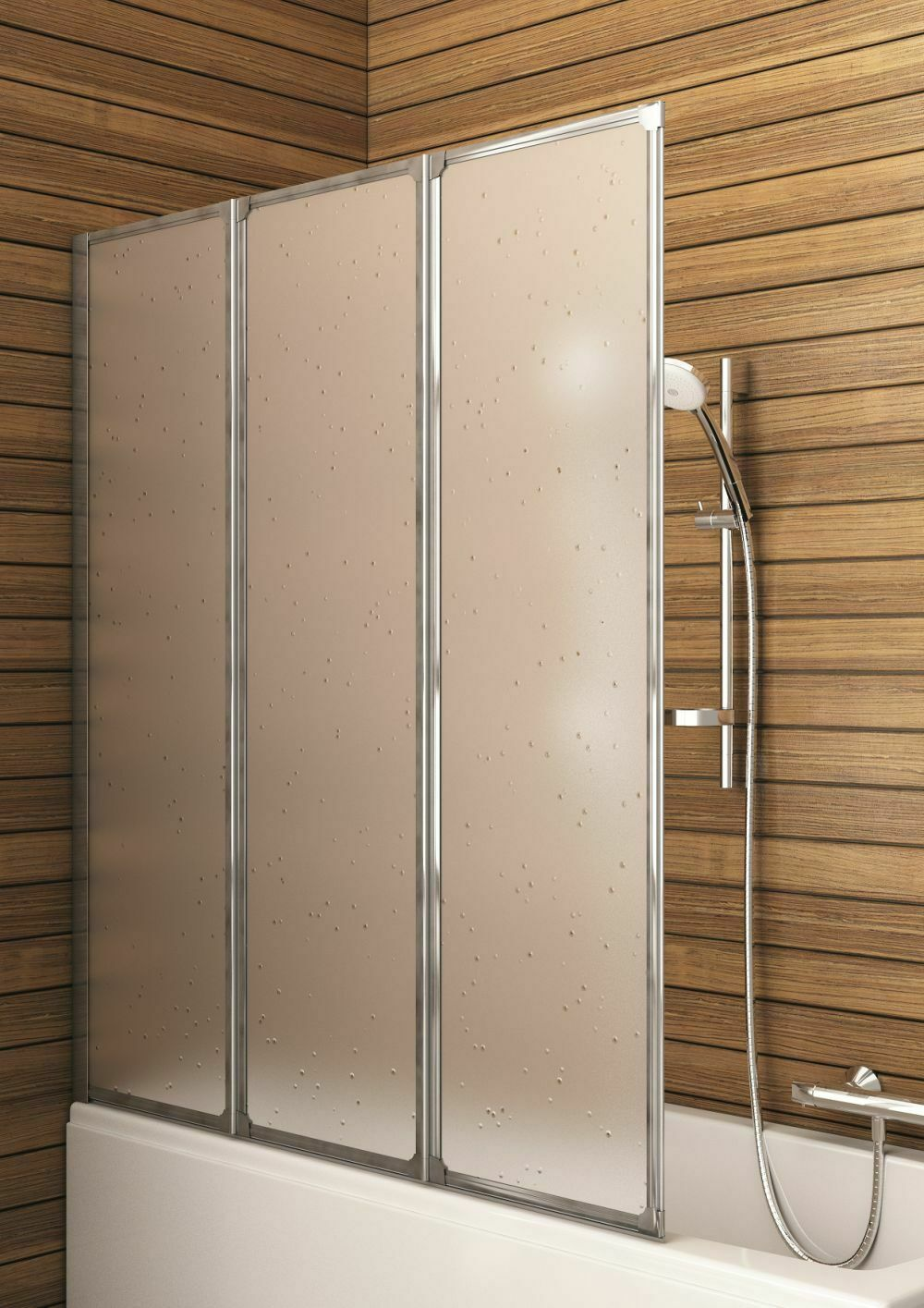 Aquaform Badewannenfaltwand 3-tlg Faltwand Badewannenaufsatz 120x140 Duschwand