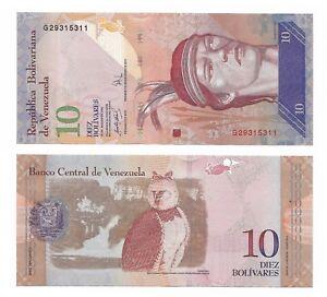 10  BOLIVARES  2007 P  90a Prefix J  Uncirculated Banknotes VENEZUELA