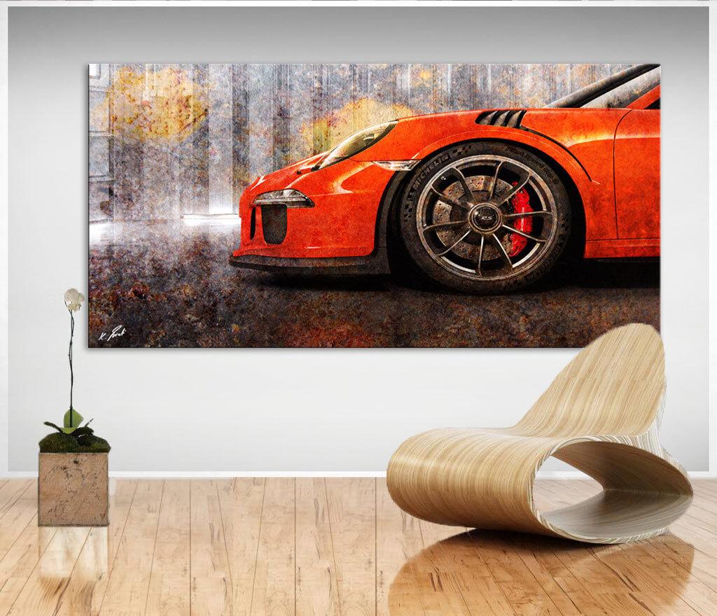 Auto Porsche 911 Sportwagen Abstraktes Bild auf Leinwand Bilder Wandbild D0307
