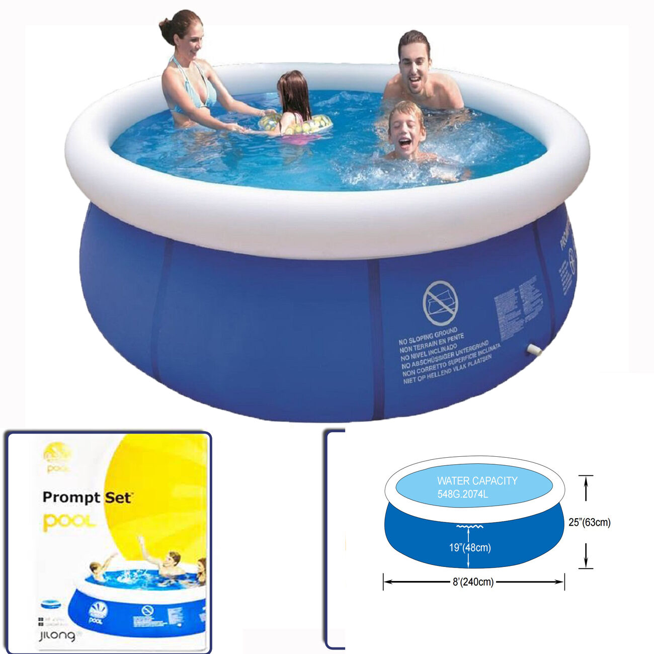 8ft Prompt Round Swimming Kid Family Pool Inflatable Paddling Outdoor Garden Set Ebay