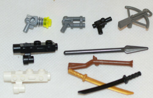 10 LEGO Genuine Weapons For Minifigures Mixed Pick Rifle Blaster Pistol Sword