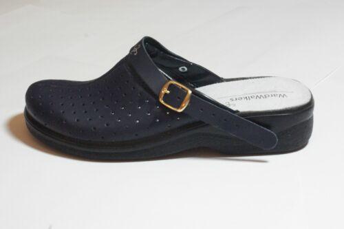 Real Black Leather Clog Shoes Vent Detail Hospital Vet BNIB UK Eu 36